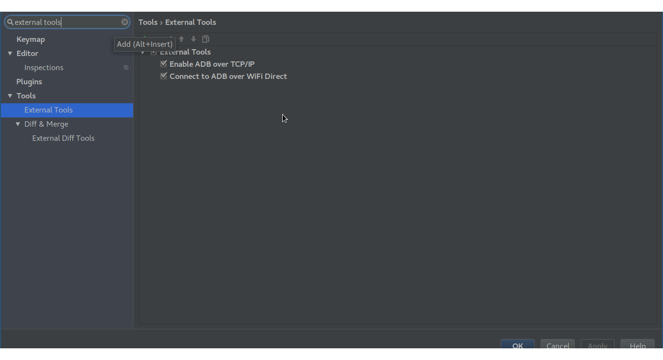 Android Studio External Tools
