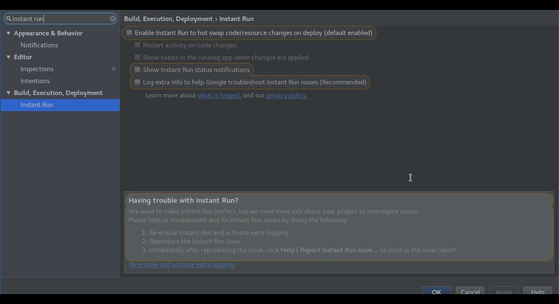 Android Studio Instant Run