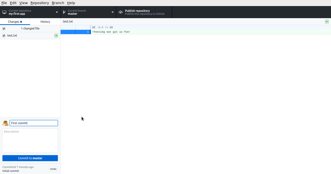 Github Desktop First Commit