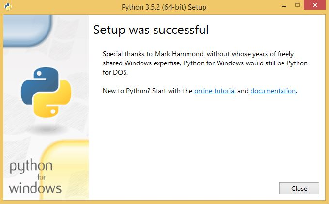 Python installation finished