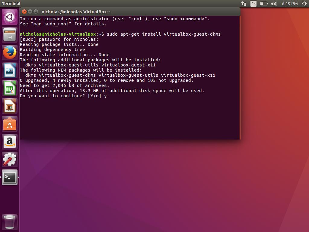 Ubuntu VirtualBox Guest DKMS Y
