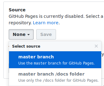 Github Pages Select Master