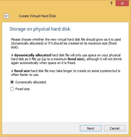 VirtualBox Hard Drive Allocation