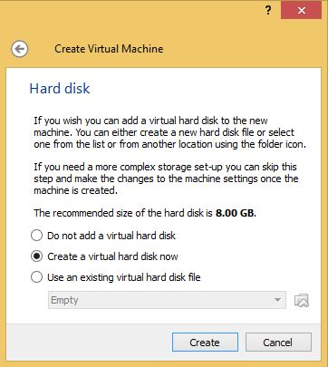 VirtualBox Hard Drive Size