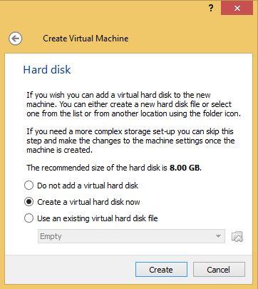 VirtualBox Hard Drive Size