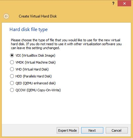 VirtualBox Hard Drive Type