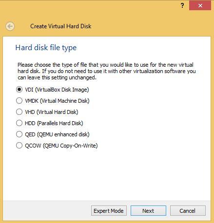 VirtualBox Hard Drive Type
