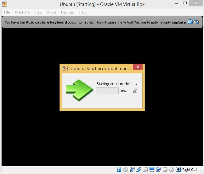 VirtualBox Machine Starting