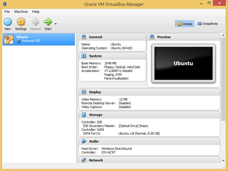 VirtualBox Main Window with Ubuntu